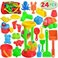 JOYIN 24 Pcs Beach Sand Toys Set Includes Sand Water Wheel, Sandbox Vehicle, Sand Molds, Bucket, Sand Shovel Tool Kits, Sand Toys for Toddlers Kids Outdoor Play (1 Bonus Mesh Bag Included)