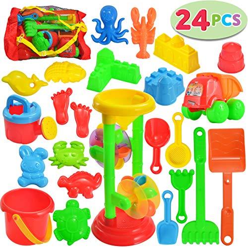 JOYIN 24 Pcs Beach Sand Toys Set Includes Sand Water Wheel, Sandbox Vehicle, Sand Molds, Bucket, Sand Shovel Tool Kits, Sand Toys for Toddlers Kids Outdoor Play (1 Bonus Mesh Bag Included)