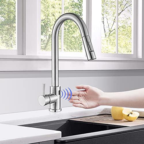 TVTIUO Grifo de Cocina sensor automatico, 2 Funciones grifos de fregadero extraible Monomando Cocina en Acero Inoxidable,níquel pulido