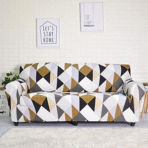 WXQY Funda de sofá elástica geométrica para Sala de Estar, Funda de sofá de Esquina combinada en Forma de L, Funda de protección de Silla para Muebles A10 1 Plaza
