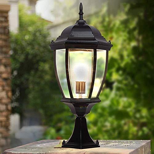MKKM Lámpara de Patio Impermeable, Linterna de Poste Exterior Antigua, Luces de Pilar Al Aire Libre Colonial de Lujo, Porche Decorativo, Terraza, Patio E27,Negro