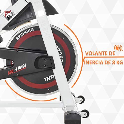 51k Hpe3W L. SL500  - HOMCOM Bicicleta Estática Bicicleta de Fitness Pantalla LCD Asiento Manillar Ajustable Volante de Inercia 8kg Resistencia Regulable 103x53x110-114 cm Acero Blanco