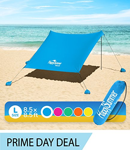 HappySummer Beach Tent with sandbag Anchors—The Portable, Lightweight, 100% Lycra SunShelter with UV Protection. The Perfect Sunshade Canopy for The Entire Family (Blue Royal, Large)