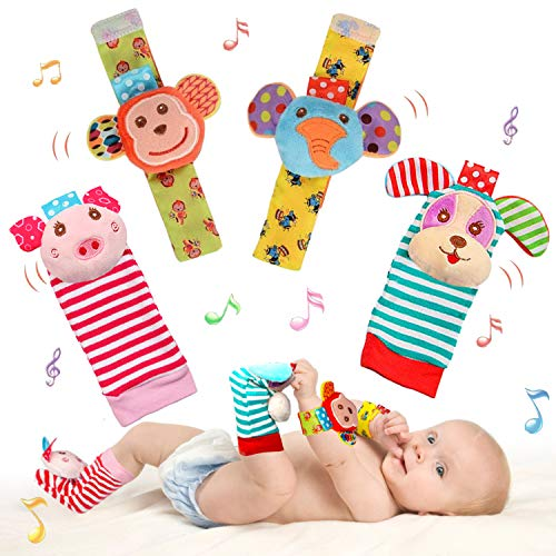 SSK Soft Baby Wrist Rattle Foot Finder Socks SetCotton and Plush Stuffed Infant ToysBirthday Holiday Birth Present for Newborn Boy Girl 0/3/4/6/7/8/9/12/18 Months Kids Toddler4 Cute Animals