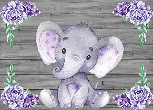 Laeacco 8x6ft Purple Elephant Cute Baby Elephant Backdrop Baby Shower Party Decoration Rustic Wooden Backdrop Sweet Watercolor Flower Cartoon Animal Photo Studio Newborn Infant Girls Birthday Banner