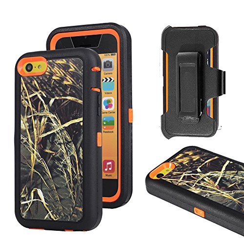 iPhone 5c Case, Harsel Defender Series Heavy Duty Tree Camouflage High Impact Tough Rugged Armor Hybrid Protective Military Built-in Screen Protector Case Cover for iPhone 5C (Grass/Orange)