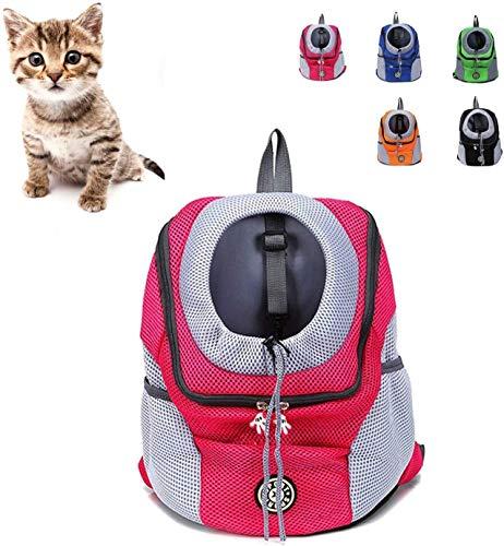 Trasportino gatto Zaino Cane Gatto, Carrier Dog, Puppy Pet Carrier Bag frontale con traspirante Testa Out Design e doppia rete imbottita tracolla for Esterni escursionismo SLZFLSSHPK ( Size : Red S )