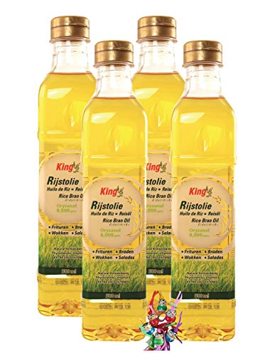 yoaxia ® - 4er Pack - [ 4x 500ml ] KING Reis-Öl / Reisöl aus Thailand / hoher Rauchpunkt / Rice Oil + ein kleines Glückspüppchen - Holzpüppchen