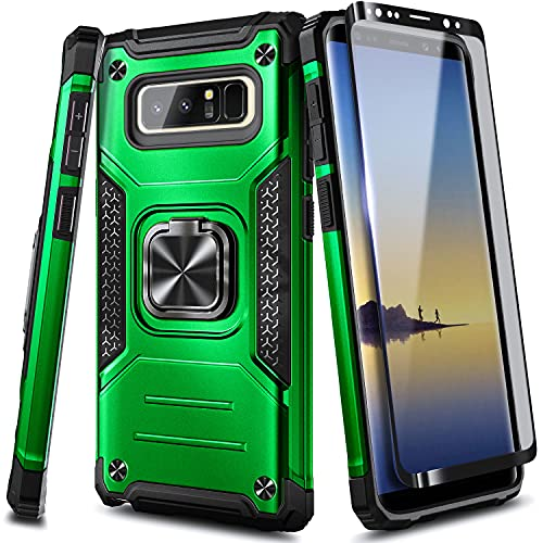 NZND Case for Samsung Galaxy Note 8 with Screen Protector (Maximum Coverage, Flexible TPU Film), [Military-Grade] Full-Body Protective, Magnetic Car Mount Ring Holder, Heavy-Duty Durable Case (Green)