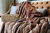 Tache 63 X 90 Inch Elegant Golden Dark Brown Faux Fur Super Soft Warm Sherpa Throw Blanket, Twin Size
