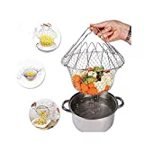 Delidge Foldable Stainless Steel Deep Fry Basket Multifunction Steam Rinse Strain Fry Strainer Net Telescopic Folding Basket Fry Basket for Fried Food or Fruits Kitchen Utensil Cooking Net Gadgets
