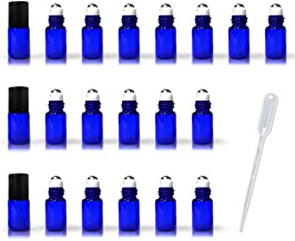 20 Pack Set 2ML(5/8 Dram) Micro Mini Cobalt Blue Glass Roll-on Glass Bottles with Metal Roller Balls - Refillable Slim Sample Vial Aromatherapy Essential Oil Roll On (Blue)