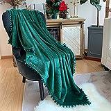 LOMAO Manta de franela con flecos de pompón, ligera, acogedora, manta suave para sofá, apta para todas las estaciones (verde, 130 x 160)