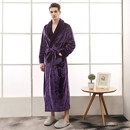 YSKDM Casual Coral Fleece Nightdress Camisón Suave Homewear Mujeres Albornoz Bata de Invierno Franela Kimono Vestido de Dormir Ropa de Dormir Abrigada, Men4, M