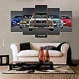 Cuadros decoracion dormitorios Cool Super Sports Racing Car Coche M3 GTR-200x100 CM Cuadros Modernos Impresión de Imagen Artística Digitalizada Lienzo Decorativo Para Salón o Dormitorio 5 Piezas