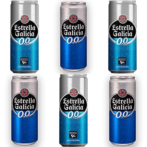 ESTRELLA GALICIA 0.0% Alkoholfrei Bier. Dosen 330 ml. bier dose, biere der welt, bier set, geschenke für männer, adventskalender männer (24 Dosen, 0.33 l)
