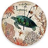 chazuohuaile Co.,ltd Reloj De Pared Retro Mapa del Mundo Submarino Tortuga Coral Pescado Mudo Reloj De Pared Cocina Sala De Estar Baño Dormitorio Oficina Decoración Reloj De Pared 25X25 Cm