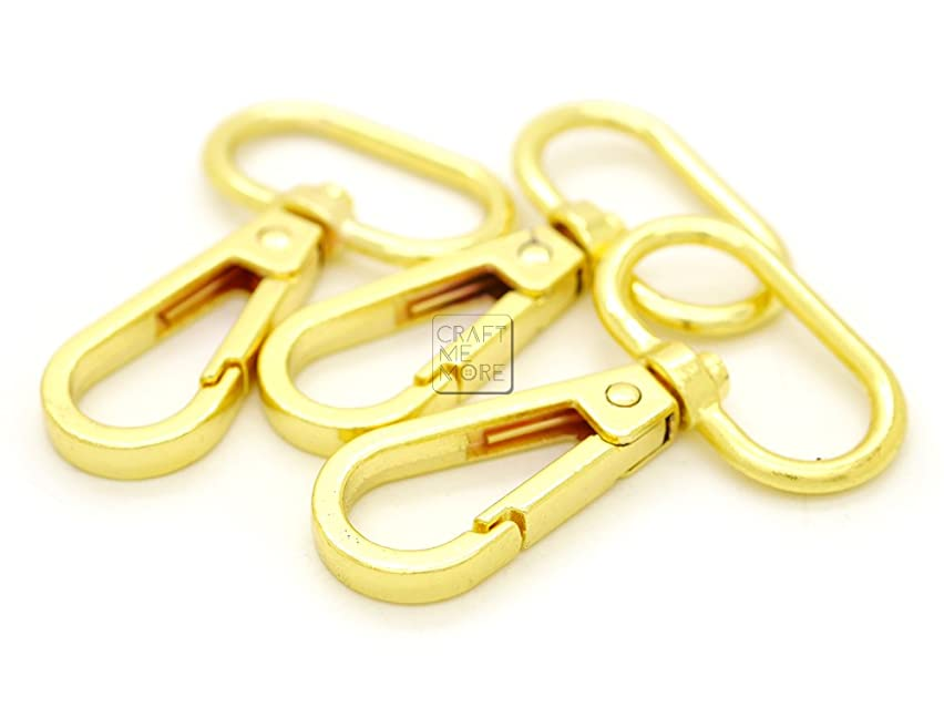 CRAFTMEmore 3/4 inch Gold Finish Push Gate Lobster Clasps Hooks Swivel Snap Fashion Clips Pack of 10 (Gold, 3/4 inch)