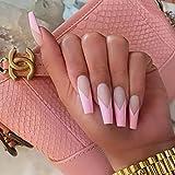 Unicra Clavos falsos para ataúd de bailarina, largo, mate, para boda, color rosa y blanco, con tapa completa, para uñas para mujeres y niñas (24 unidades)