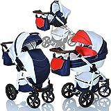 LCP Kids Poussette combinee 3en1 LUCATO eco cuir pour bebe et enfant 0-36 moins pliable avec module canne et siege auto groupe 0+...