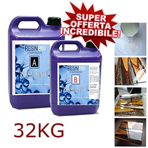 SUPER OFFERTA! 32 KG! Resina epossidica Ultra Trasparente - Effetto acqua - SPEDIZIONE GRATUITA! IDEALE per + Bricolage,+ Rivestimento di superfici, Tavoli in legno, Nautica