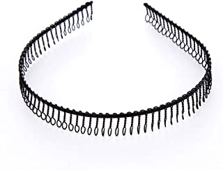 6Pcs Unisex Black Metal Hairband Teeth Comb Headband Hair Hoop Headwear Accessory for Women Men