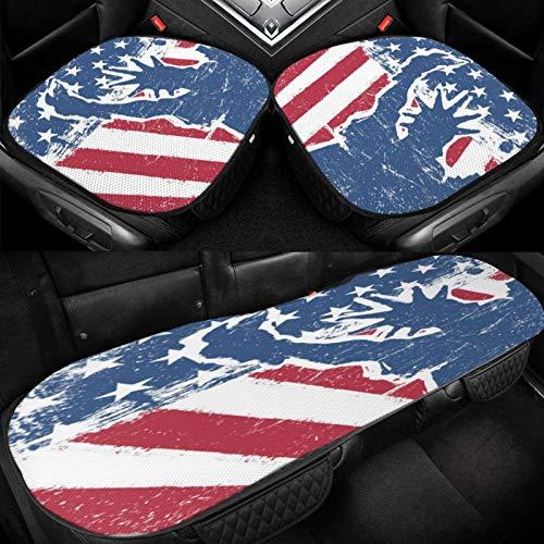 Yuniker American Flag and Liberty Statue Car Ice Cushion Universal Car Seat Protector Soft Cool Bottom Seat Covers 3 Pcs Non-Slip Cushion Mats for Car Truck SUV Van Mpv