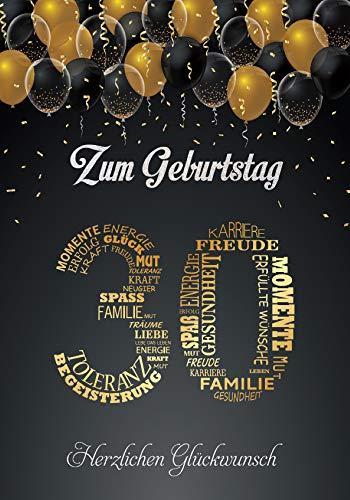 Elegante Glückwunschkarte A5 zum 30. Geburtstag Geburtstagskarte mit Nummer 30 und Glückwünschen Schwarz Gold 30. Geburtstag