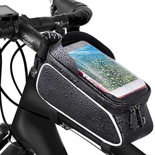 Landrip Borsa Bici Manubrio,Borsa Telaio Bici Cellulare Impermeabile, Borsa da Bici con Sensitive Touch Screen,Portacellulare Bici MTB, Mountain Bike Portacellulare per 6.5 Pollici Uomo