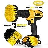 Swonuk Drill Brush, 3pcs Taladro Cepillos Accesorio 2' 3.5' 4' Power Scrubing Auto Cepillo para Coche, Alfombra, Cuarto de baño, Suelo de Madera, lavadero, Cocina (Amarillo)