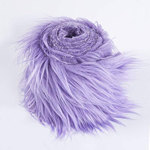 FabricLA Shaggy Faux Fur Fabric - Pre Cut | 4' X 60' Inches | DIY Craft, Hobby, Costume, Decoration | Lavender