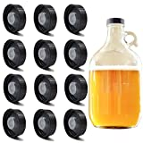 12 Pack 38mm Growler Caps Growler Lids Poly Seal Screw Caps Poly Seal Growler Caps Compatible with 1/2 Gallon and 1 Gallon Glass Gallon Jugs Replacement for Homebrew Wine Making Beer Brewing, Black