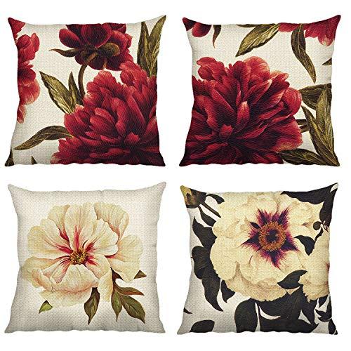 Bonhause Juego de 4 Funda de Cojín 45x45cm Flores de Peonía Roja y Beige Algodón Lino Fundas de Almohada para Cojines Decorativos para Sofá Cama Coche Hogar
