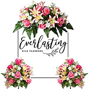 Everlasting Silk Flowers Cemetery Flowers – Artificial Flowers for Graves & Memorials Beautiful Arrangements for Headstones – Lasting Non-Bleed Colors (Pink & White, Two Bouquets & One Saddle)