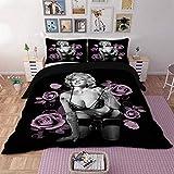 AZGOGO Sexy 3D Marilyn Monroe Bedding Set Duvet Cover Bed Set Twin Queen King Size Home TextileSize AU Single - Size USA Queen