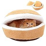 Pet Puppy Cat Bed Cave House Cojín para Gatos De Interior Saco De Dormir Hamburguesa Lavable Soft Warm Kitty Nest, Cama Perros Y Gatos con Funda Inferior Extraíble Resistente,Zipper,S