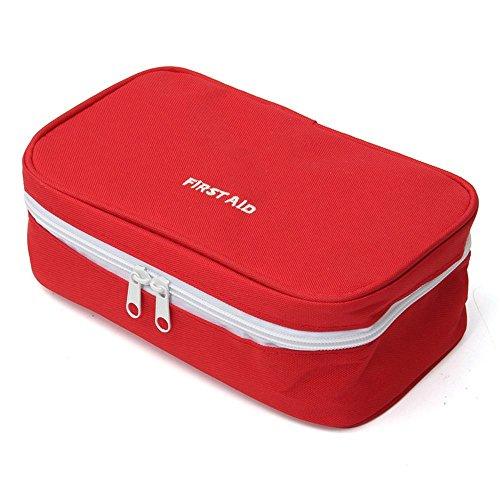 Slivercolor Erste Hilfe Set,Tragbar leer Erste-Hilfe-Koffer First Aid Kit Gewebe Medizintasche, Reiseapotheke Tasche, Betreuertasche Tasche für Reisen Home Workplace (Rot)