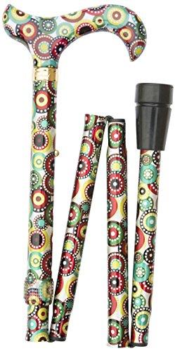 Gehstock Faltstock CIRCLES, bequemer Derbygriff aus Gießharz im modernen Retro-Design, aufgesetzt auf einen Stock aus stabilem Leichtmetall, höhenverstellbar, faltbar, inklusiv Schlankpuffer.