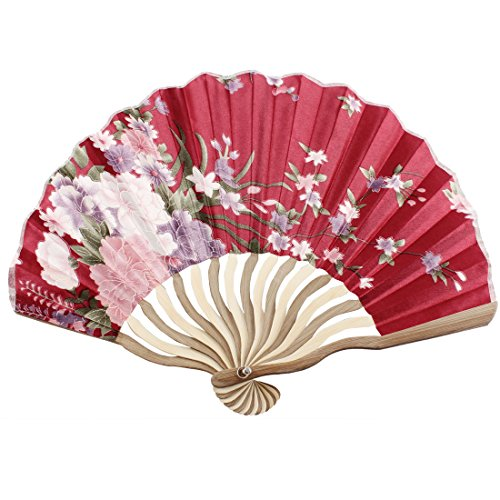 uxcell Nylon Bamboo Flower Printed Lady Portable Folding Hand Fan Art Gift