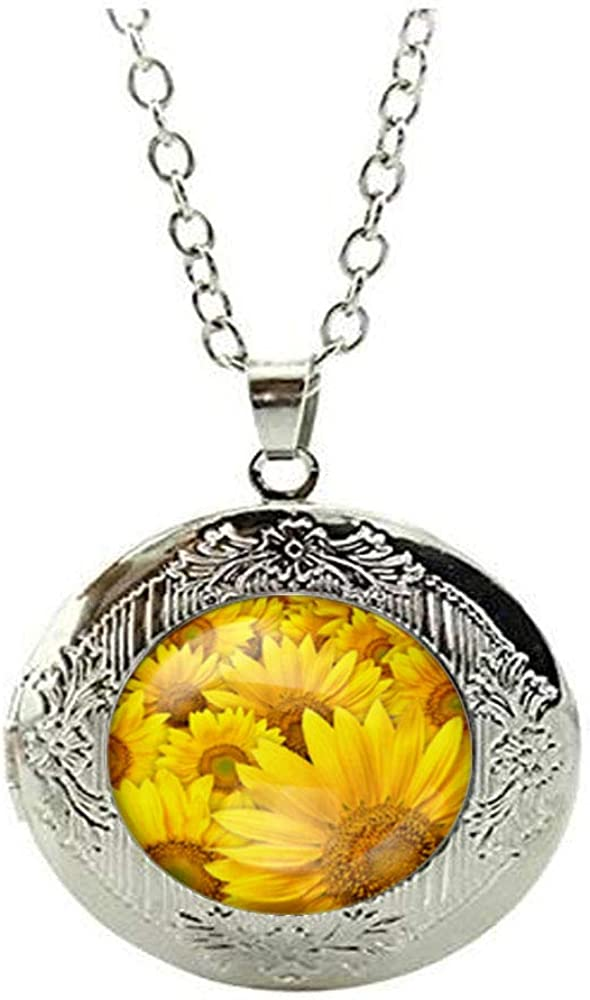 Sunflower Floral Art Photo shop Jew Necklace Glass Locket Bombing free shipping