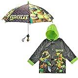 Nickelodeon Little Boys TMNT Slicker and Umbrella Rainwear Set, Black/Green, Age 2-3