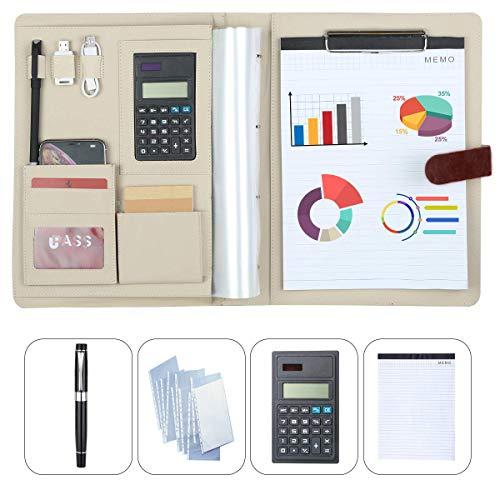 Conferencia Carpeta Portafolio Carpeta comercial Carpeta de anillas A4 Organizador de oficina Bloc de notas con bolsas de archivos Calculadora Nota lápiz de papel