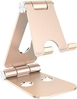 Simpeak Tablet Stand, Dual Foldable Aluminum Stand Universal Phone Stand Holder Compatible with iPhone,Gold