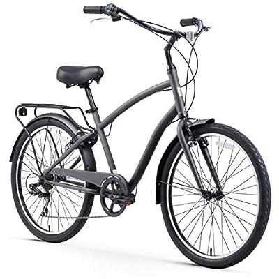 "sixthreezero EVRYjourney Steel Men's 7-Speed Sport Hybrid Cruiser Bike, 26"" Bicycle, Matte Grey with Black Seat and Black Grips"