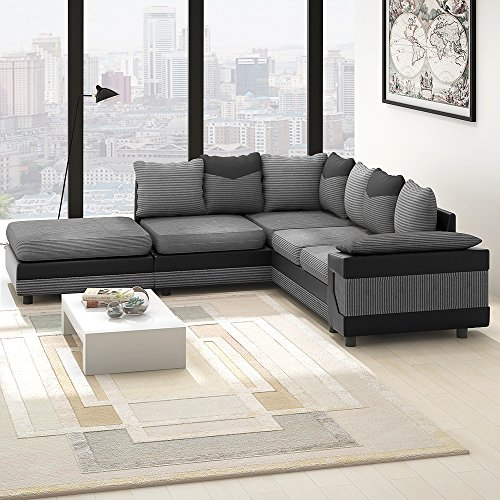 Wellgarden Sofá esquinero 4 plazas, con Forma de L, Tela y sofá tapizado de Piel, sofá con reposapiés Izquierdo o Derecho