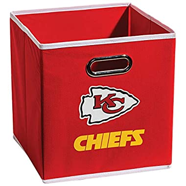 Franklin Sports NFL Kansas City Chiefs Fabric Storage Cubes - Made To Fit Storage Bin Organizers (11x10.5x10.5 )