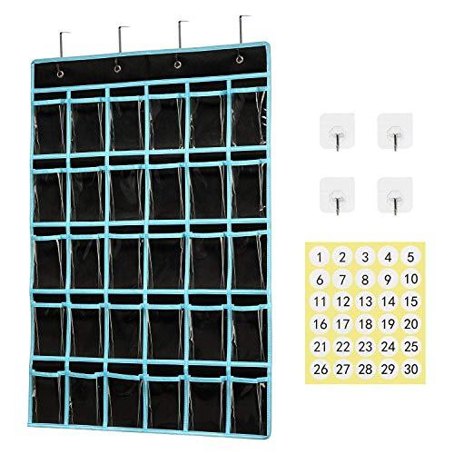 Classroom Pocket Chart Organizer,KEEPJOY Cell Phones Calculator Holder for Classroom Storage, Hanging Wall Door Calculator Phone Caddy for Classroom .(30 Pockets-Black)