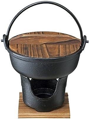 イシガキ産業 いろり鍋 黒 木蓋付き コンロセット 鉄鋳物