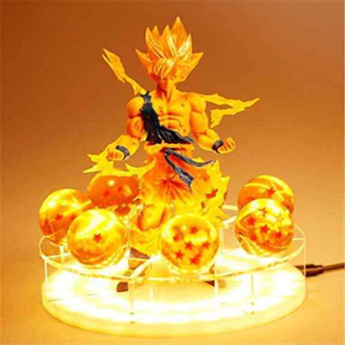 4 piezas Dragon Ball Z Son Goku Led Lámpara De Luz Espíritu Bomba Figuras Anime Dragon Ball Z Goku Super Saiyan Decoración Luz De La Noche Regalos Creativos