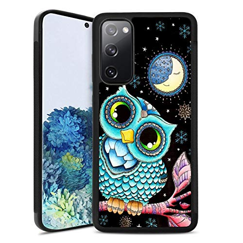 Samsung Galaxy S20 FE 5G Case Customized Design Owl Pattern,Soft Black TPU Rubber and PC Anti-Slip Full Body Protective Phone Case Suitable for Samsung Galaxy S20 FE 5G
